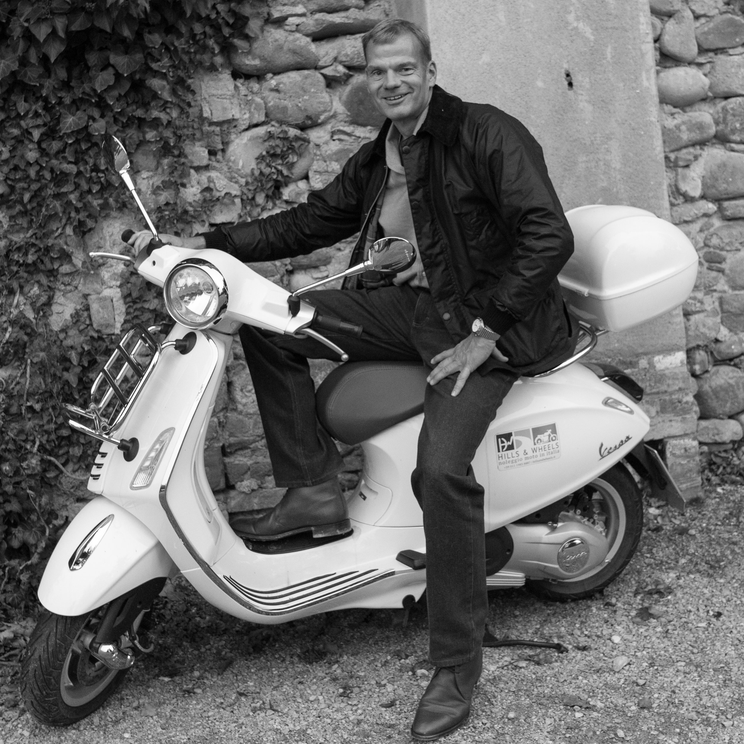 Vespa the only way to travel, in Piedmont, Italy.