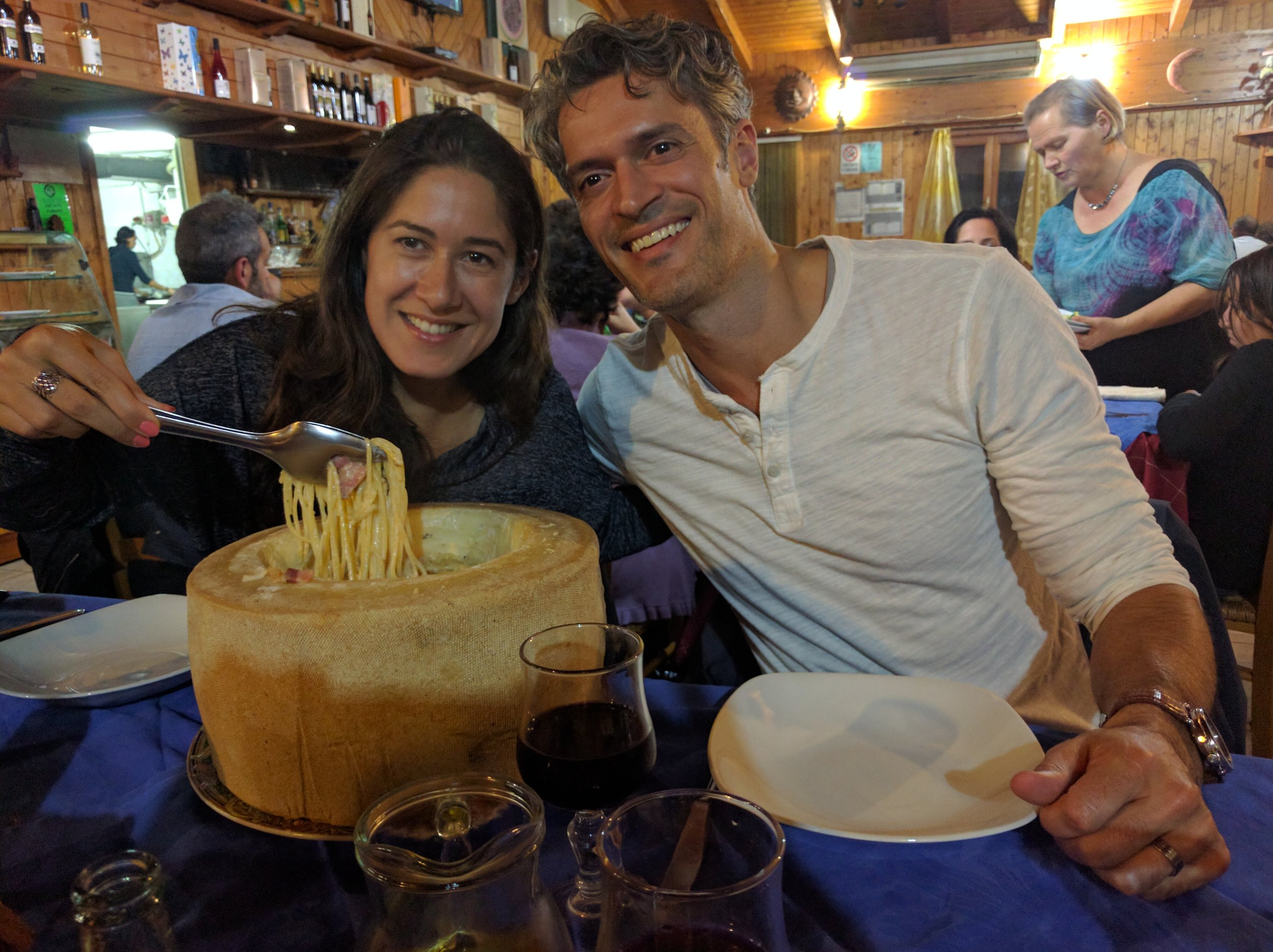 Cacio e pepe pasta inside a giant wheel of cheese. Mr. eats a lot. So do I. Still, we couldn't finish it...