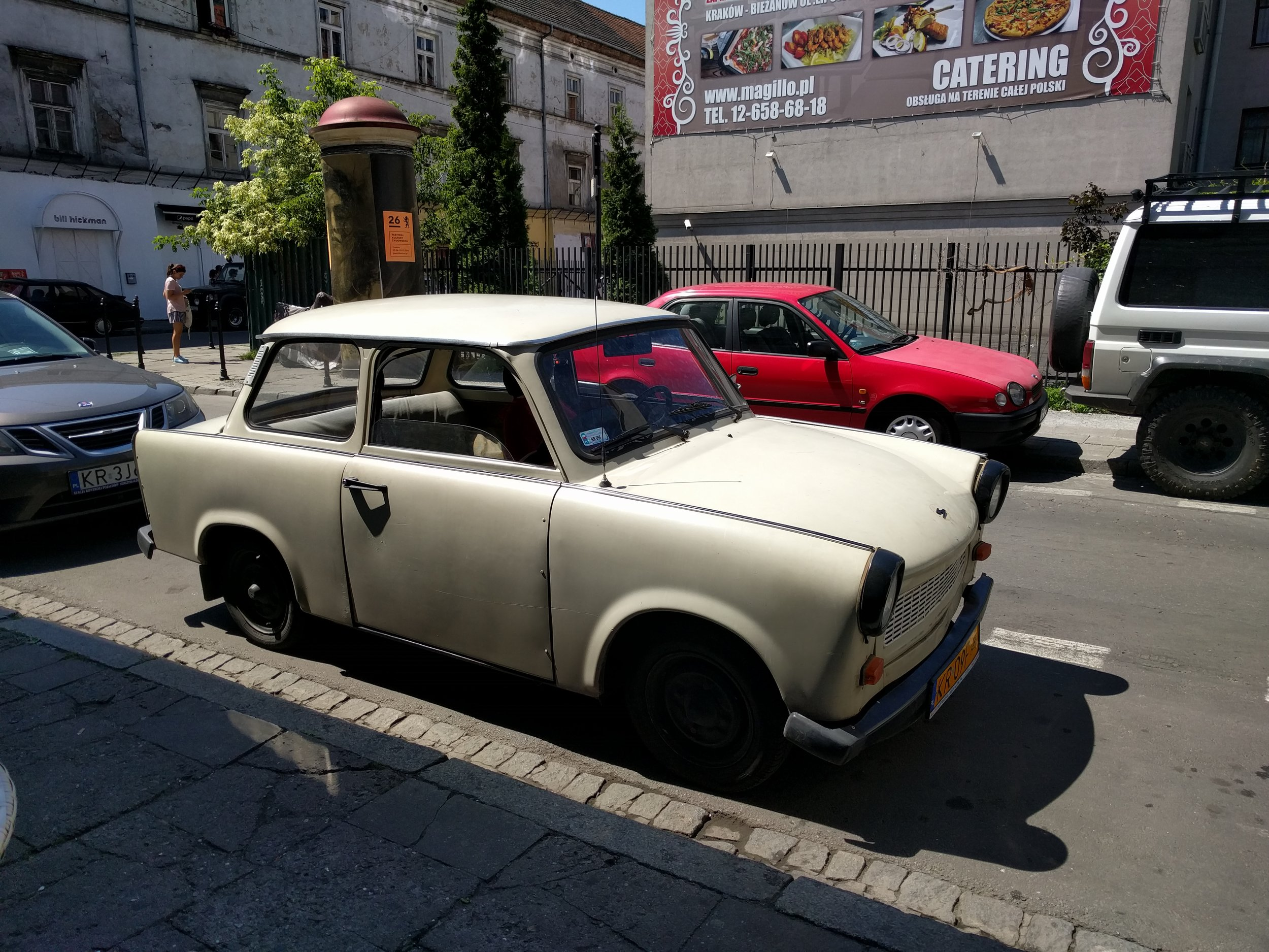 A Trabant in Krakow. The car of the German Democratic Republic (East Germany). Fun fact, it only came with a two-stroke engine.
