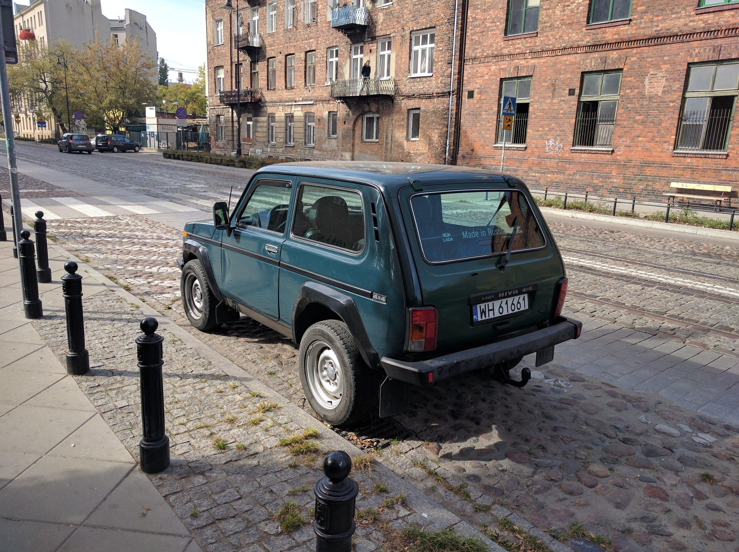 A 4x4 Lada in Warsaw's Praga district.