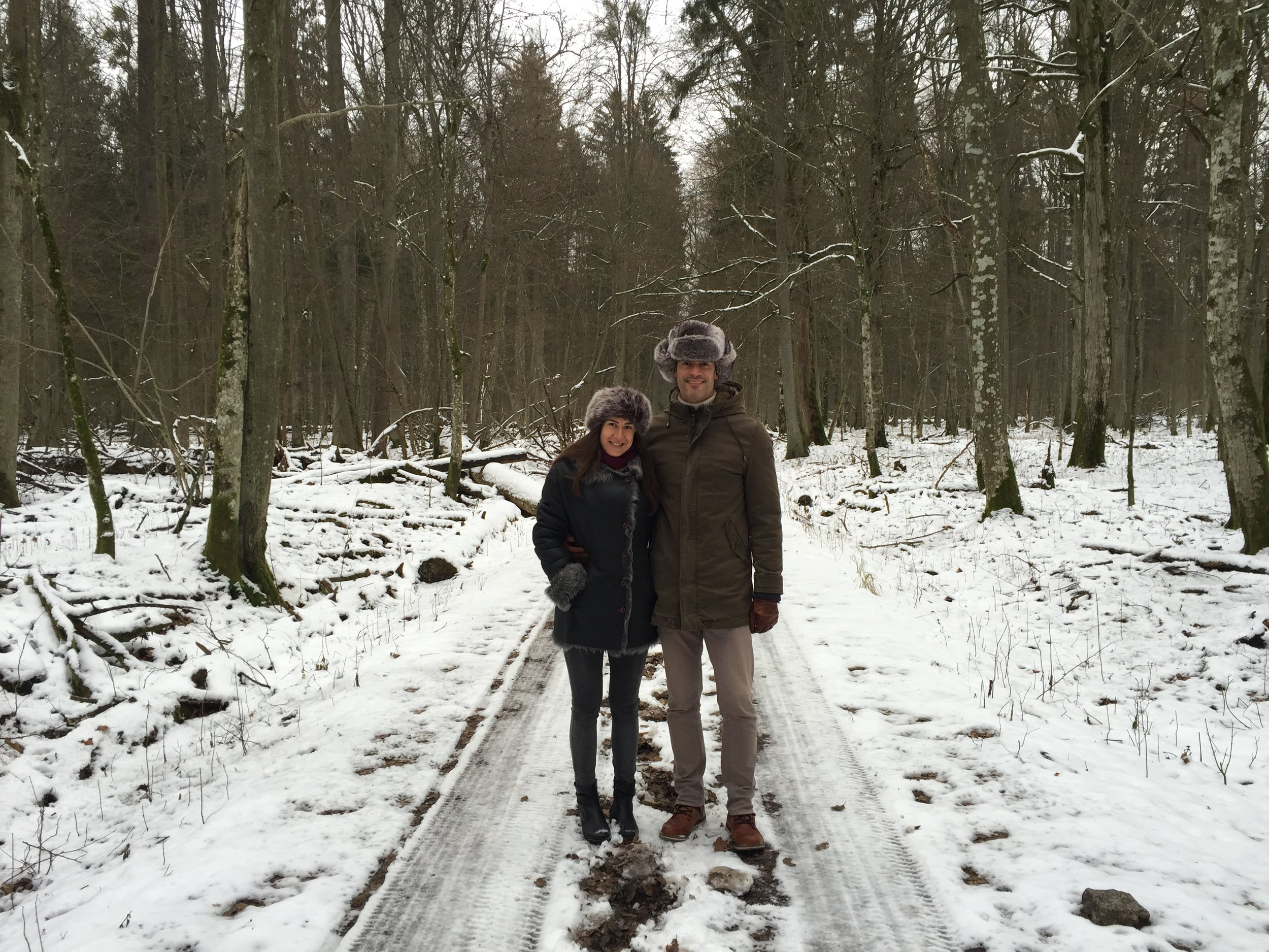 The Mrs. and I bundled up for a forest walk (just a couple of degrees below freezing).