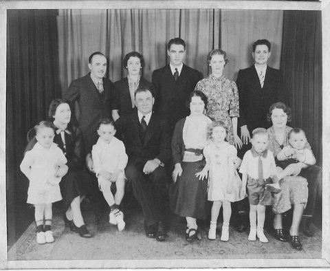 My great-grandparents (seated in the middle) and their extended family. My grandfather is standing in the middle. I know have even more reasons to be thankful to them.