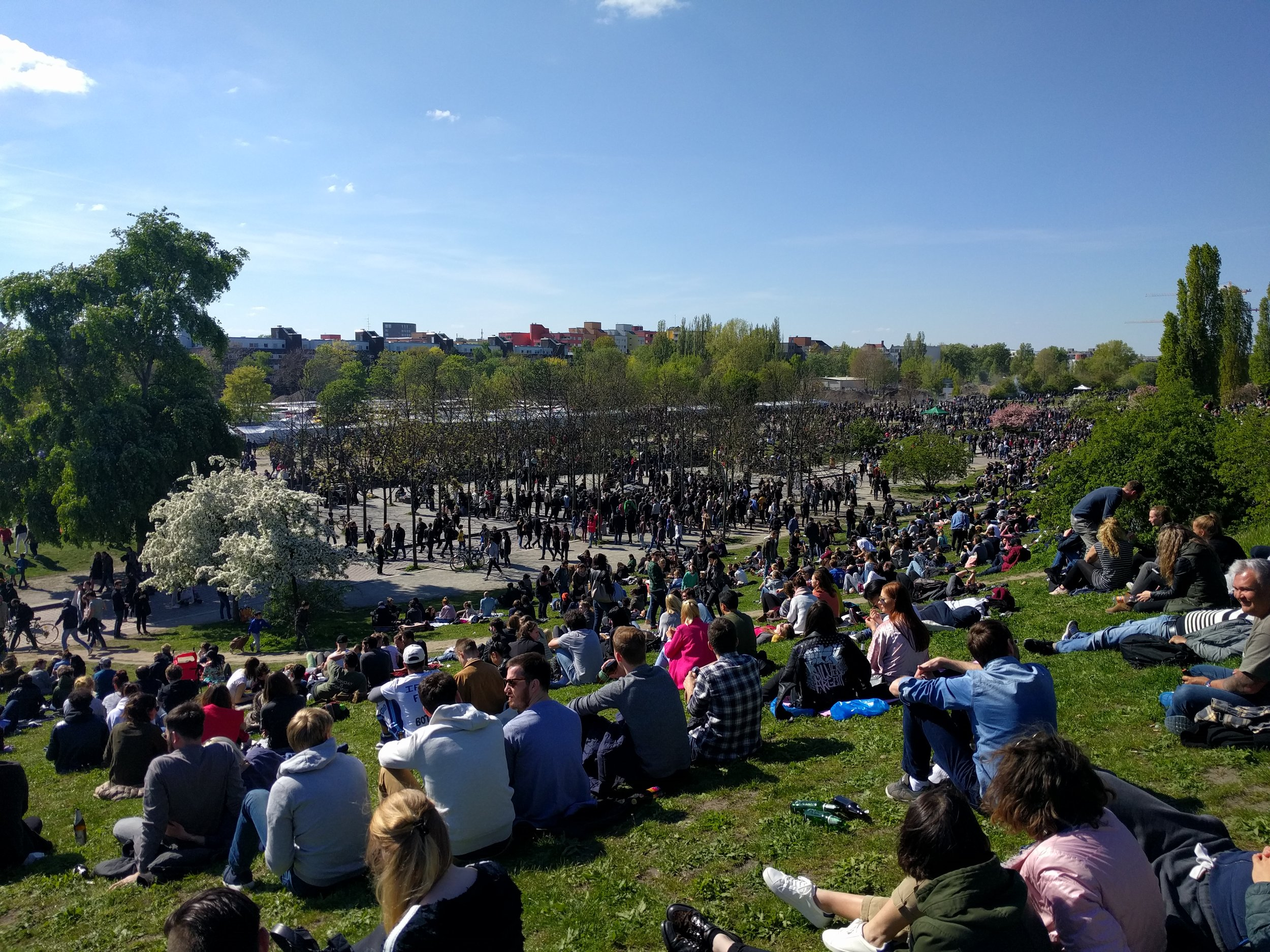 On one of the first warm weekend days in northern Europe, the entire city of Berlin seemed to be in Mauerpark.