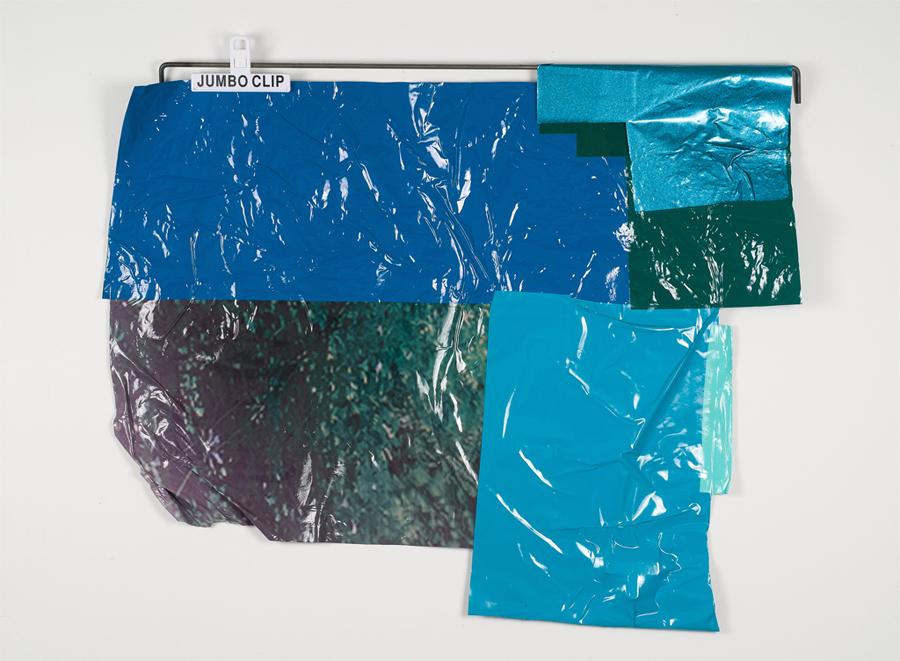 "Salp, 2012; salvaged adhesive vinyl, steel, chip clips; 29 x 42 x 1"""