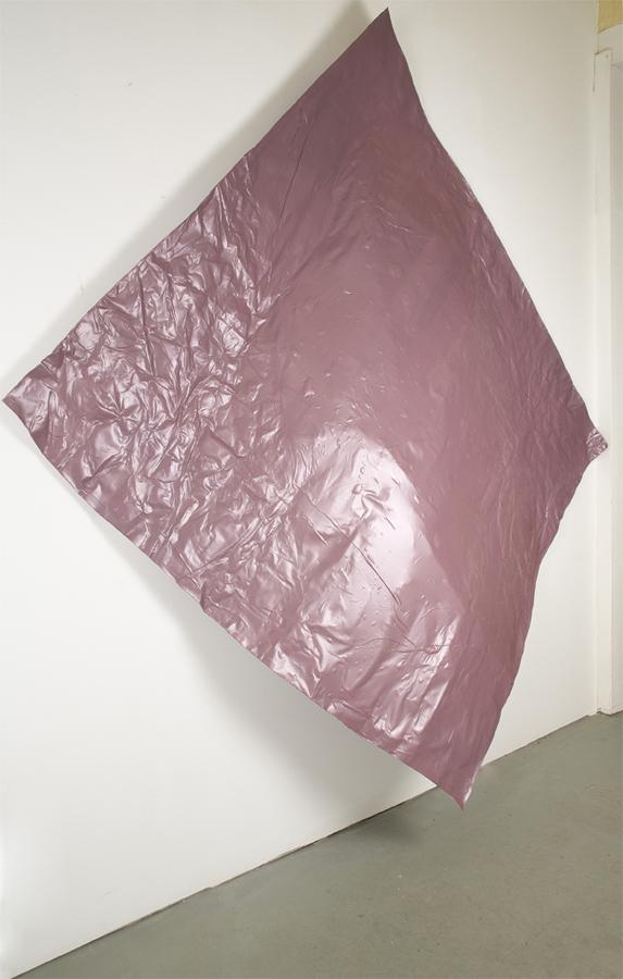 "Fung-ible , 2012; salvaged adhesive vinyl; thread, adhesive, aluminum, tarp clamps; 98 x 100 x 13"""