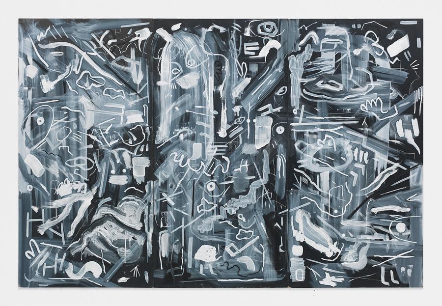 "Fancy Night , 2014; oil stick, tempera on masonite blackboard; 48 x 72"""
