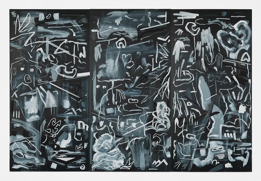 "Crossed Smoke , 2015; acrylic, oil stick, and chalk on masonite blackboard; 48 x 72"""