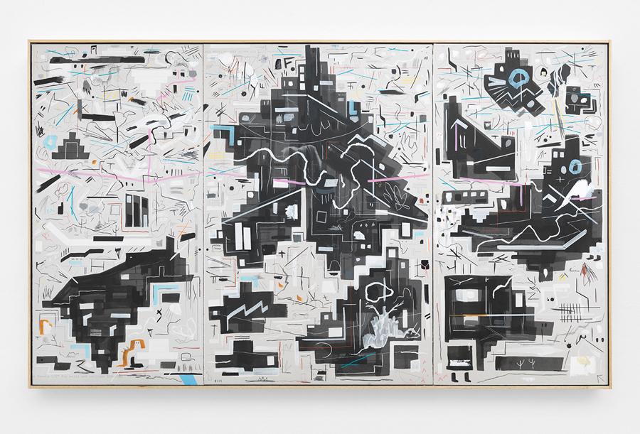 "Bricks Beneath Leaves , 2016; acrylic, chalk, oil stick, gouache, tape, metal BBs on sheetrock panels in artist's frame; 48 x 80"""