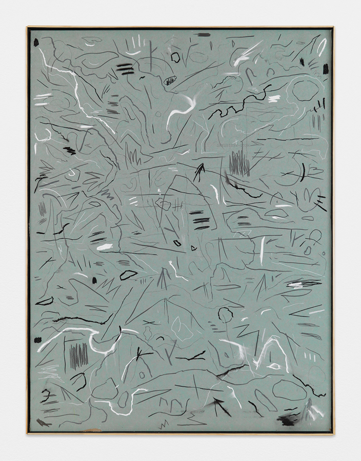 """When the Animals Run , 2016; graphite, chalk, and pastel on sheetrock panel, artist's frame; 48 x 36"""""""