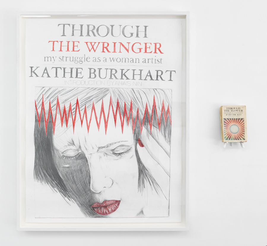"Through the Wringer , 2004; pencil and colored pencil on paper; framed; Judy Chicago book, wooden easel; drawing 48 x 38"", overall dimensions variable"