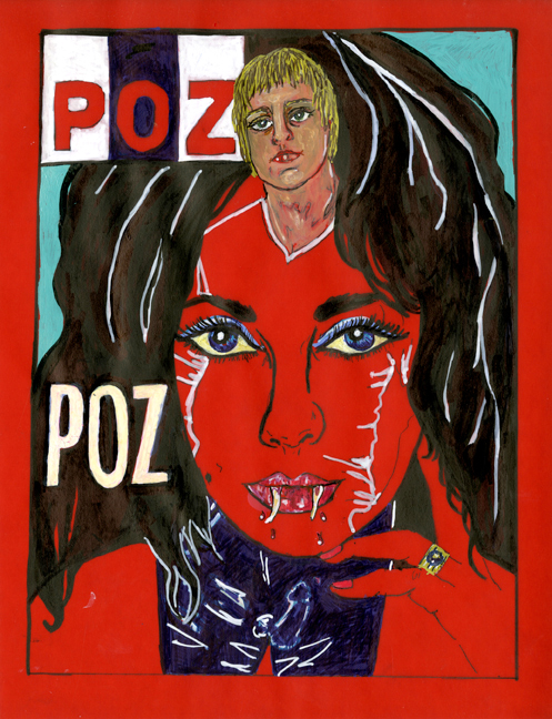 POZ,  2012; marker and pencil on vellum, framed; 11 x9""