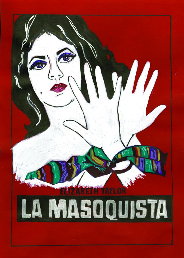 La Masochista , 2011; marker on vellum, framed; 16 x 12""