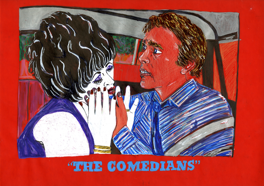The Comedians , 2008; marker and pencil on vellum, framed; 13 x 17""