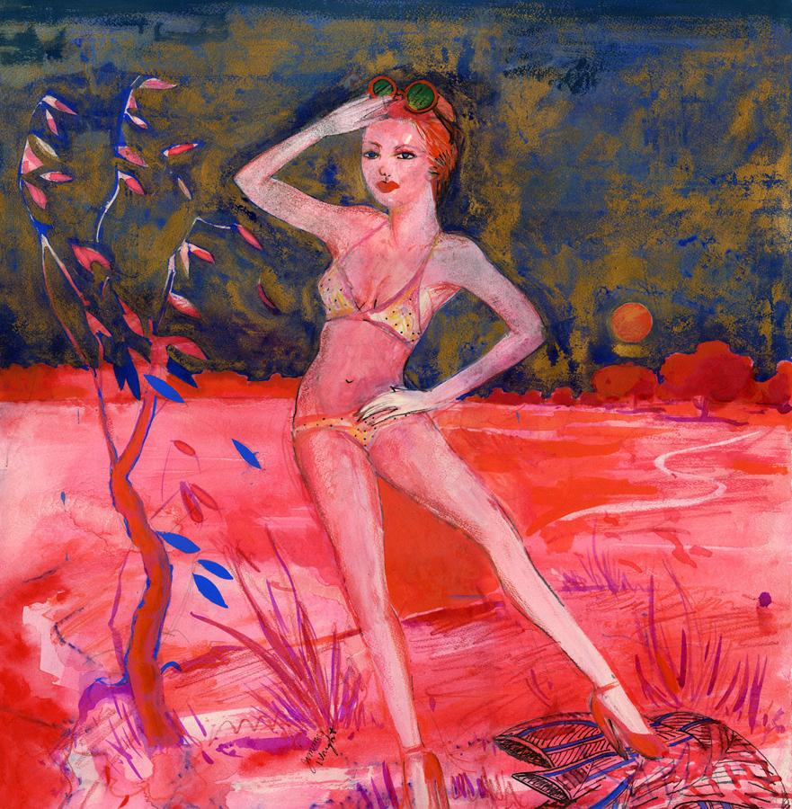 "Portrait of Lynda Benglis , 1975; gouache on paper; 19.5 x 18"""