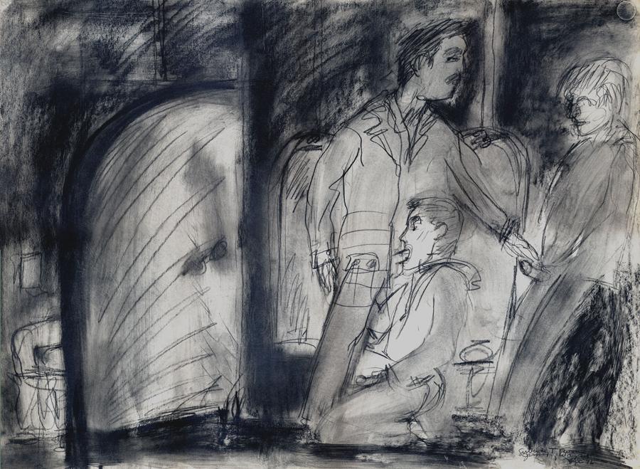 "Subway Tea Room , 1976; graphite on paper; 22 x 30"""