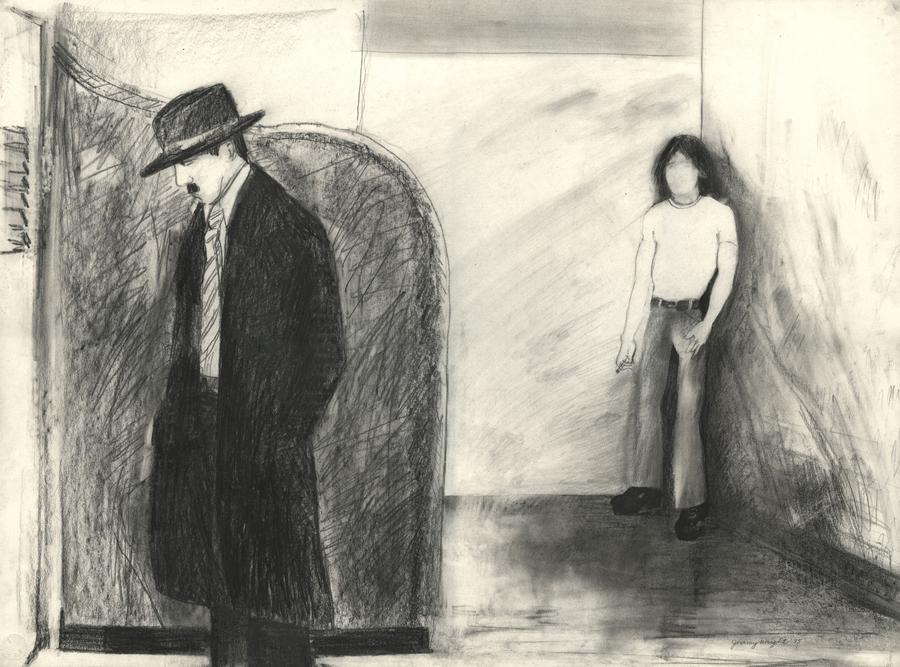 "Tea Room , 1975; graphite on paper; 22 x 23"""
