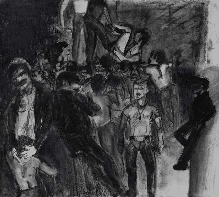 "The Loft , 1975; graphite on paper; 22 x 24.5"""