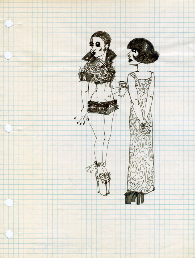 Two Girls with Drink: Club 82 , 1973; ink on paper; 10.75 x 8""