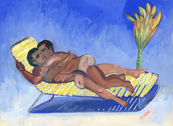 """Jimmy Wright, The Embrace: Club Baths, 1975, gouache on paper, 22 x 30"""""""