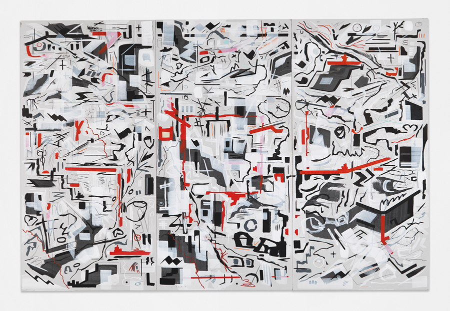 """Pain Killer,  2016 Mixed media on sheetrock panels in artist's frame 47 x 72"""" (121.9 x 182.9 cm)"""