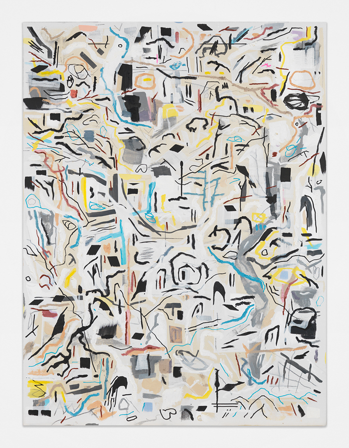 "Foul, 2018 Acrylic paint, pastel, oil paint, graphite on canvas 60 x 48"" (152.4 x 121.9 cm)"