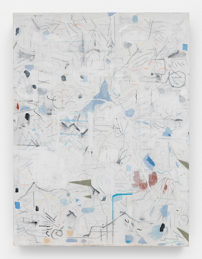 """Fall Down Tree,  2016 Mixed media on canvas, stretched over panel 48 x 36"""" (121.9 x 91.4 cm)"""