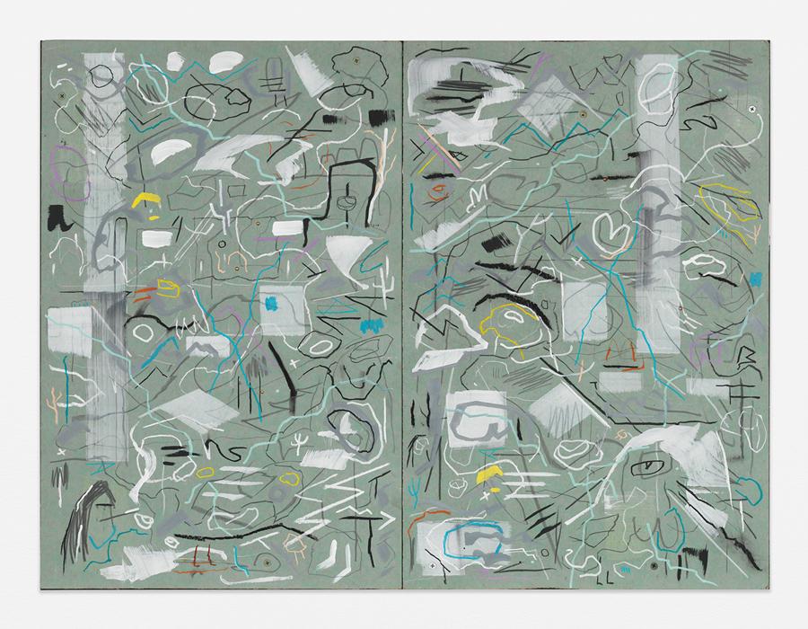 "Nester,  2016 Mixed media on sheetrock panels 24 x 32"" (61 x 81.3 cm)"