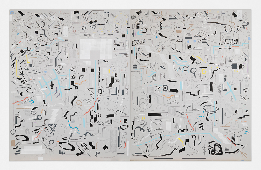 """From Downtown,  2016 Mixed media on sheetrock panels in artist's frame 60 x 96"""" (152.4 x 243.8 cm)"""