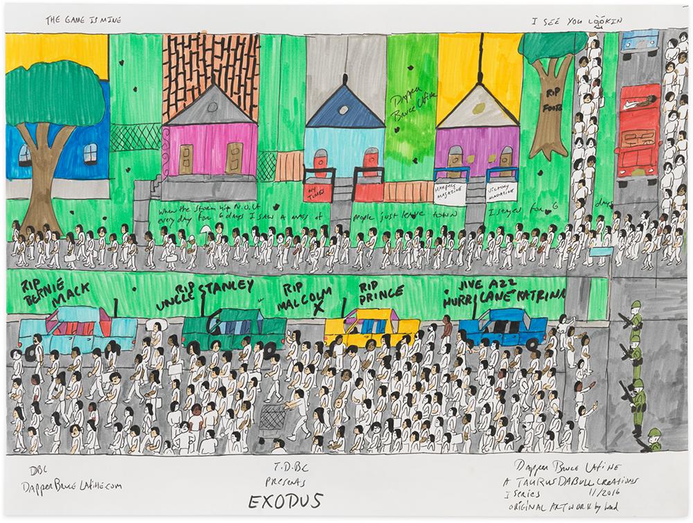"""Exodus, 2017 Archival ink on acid free paper 18x24"""""""