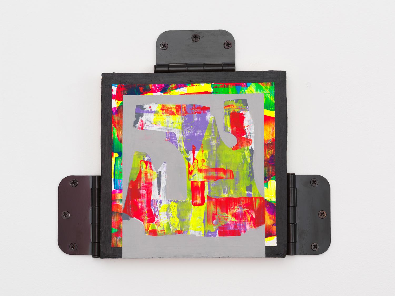 "Chuck Nanney, Get Thy Bearings, 2017, Acrylic on wood, metal door hinges 10 x 12 x 1"""