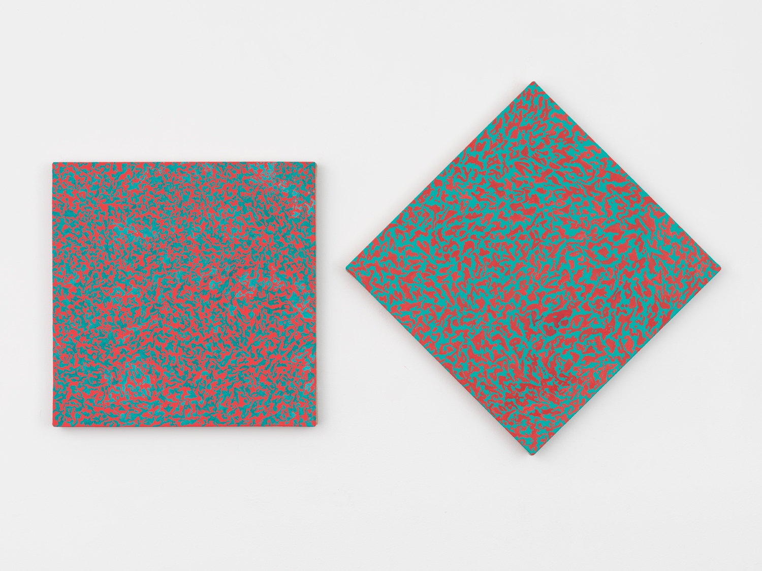 """Nora Griffin, Quinacridone (diptych), 2017, Oil on linen, 2 parts, Each 16 x 16"""""""