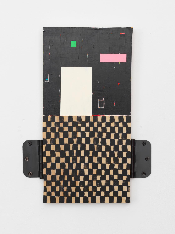 """Chuck Nanney, Spectrum is Green, 2017, Acrylic on wood, metal door hinges 16 x 12 x 1"""""""