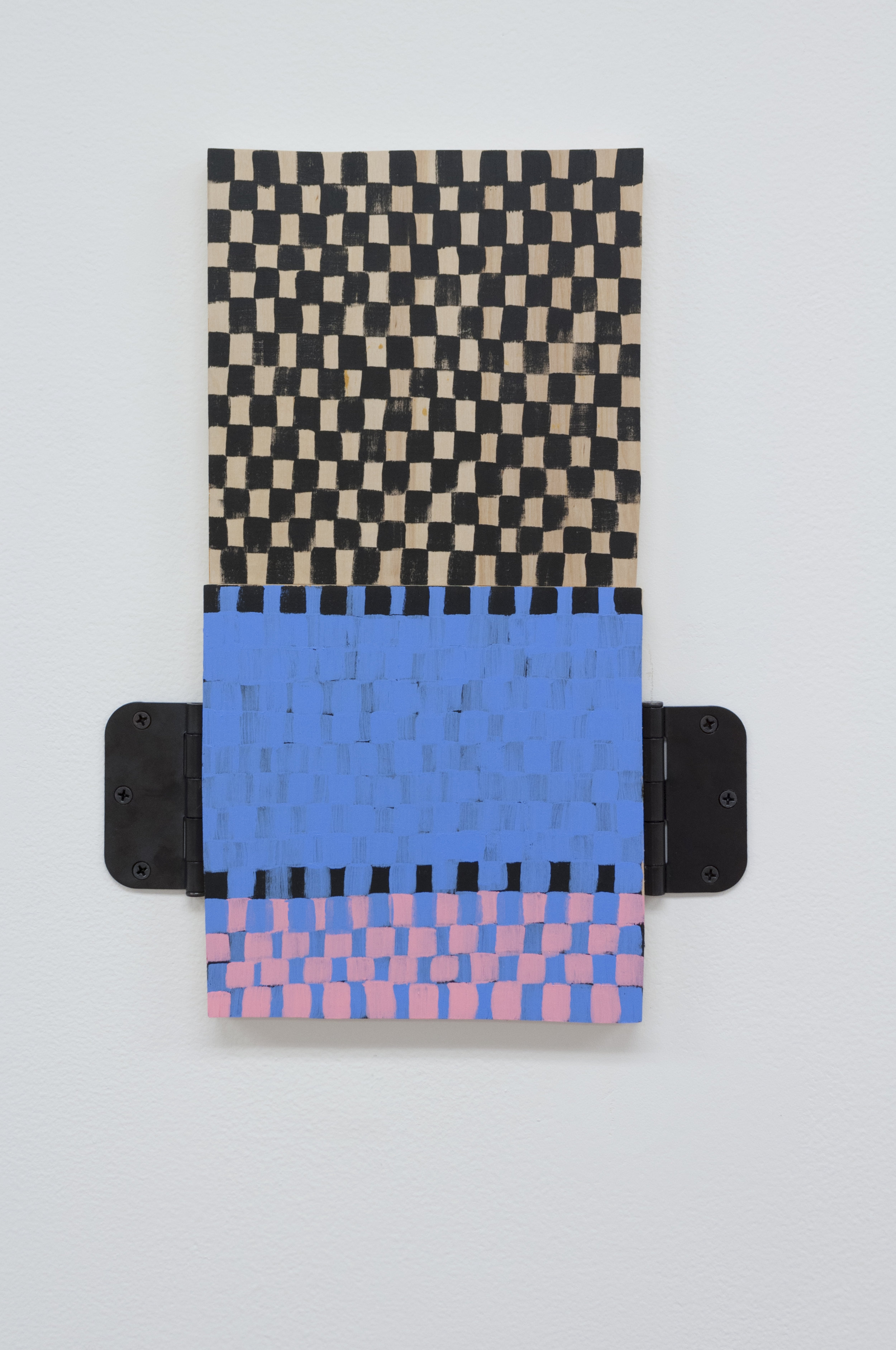 "Costello,  2017;acrylic on plywood, door hinges; 16 x 8 x 1"""