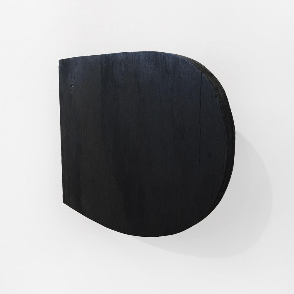 """Mobile Black Nub #5,  2017, Acrylic on wood, metal door hinge Approx. 8 x 10 x 3"""""""