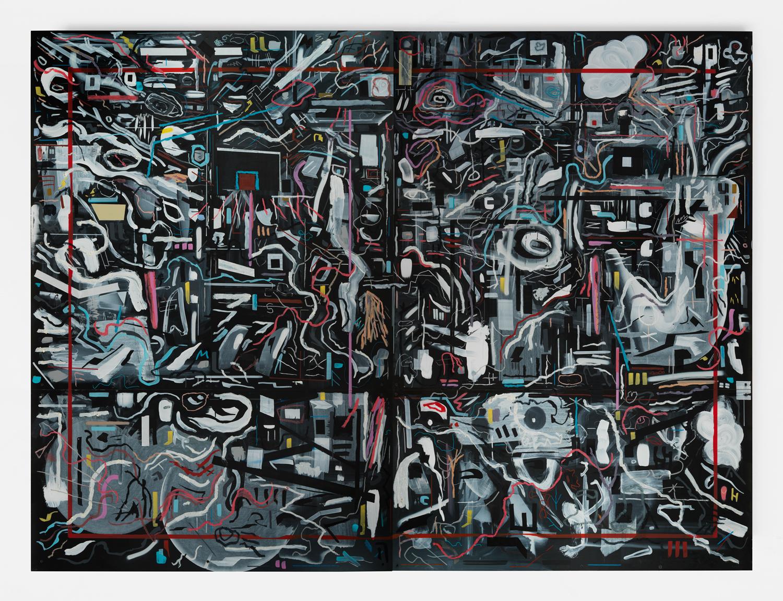 "Always Keep a Barking Dog  2017 mixed media on sheetrock panels in artist's frame 72 x 96"""