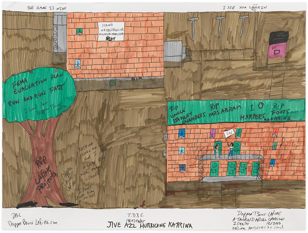 "Jive Azz Hurricane Katrina  2017,Archival ink on acid free paper,18 x 24"""