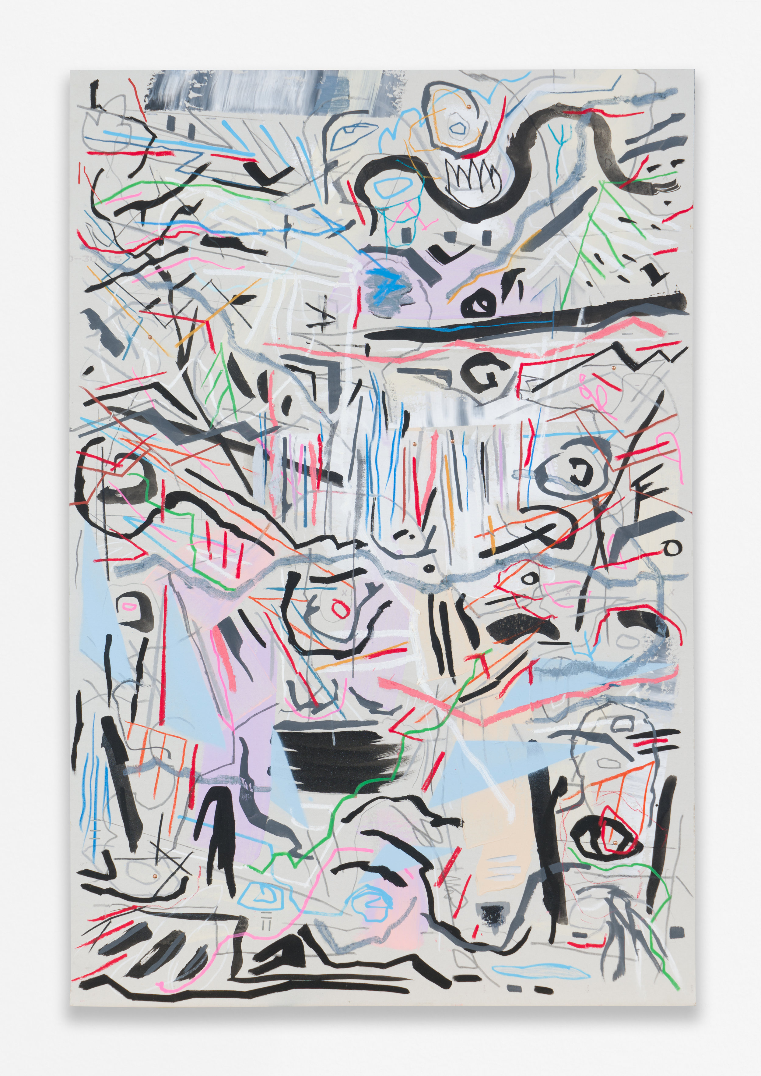 """Naptime, 2018 Acrylic, pastel, oil, graphite, and ink on sheetrock panel in artist's wooden frame 36 x 24"""" (91.4 x 61 cm)"""