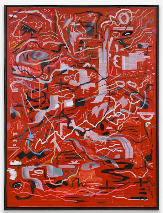 "Let's Learn Stick, 2017 Oil pastel, chalk, acrylic, gouache, graphite on sheetrock panels in artist's wooden frame 48 x 36"" (121.9 x 91.4 cm)"