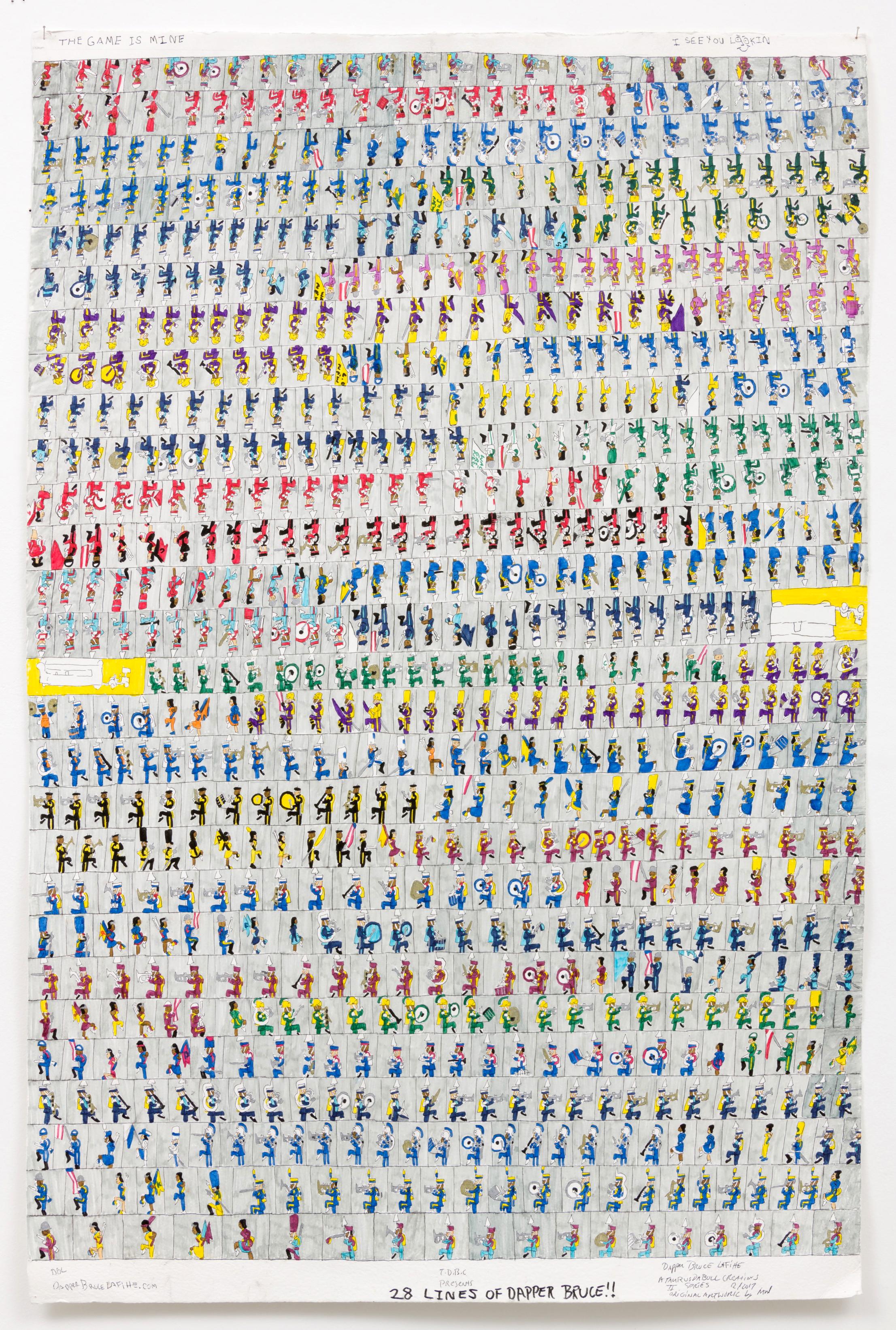 """Dapper Bruce Lafitte  28 Lines of Dapper Bruce!!, 2017  archival ink on acid free paper  60 x 40"""""""
