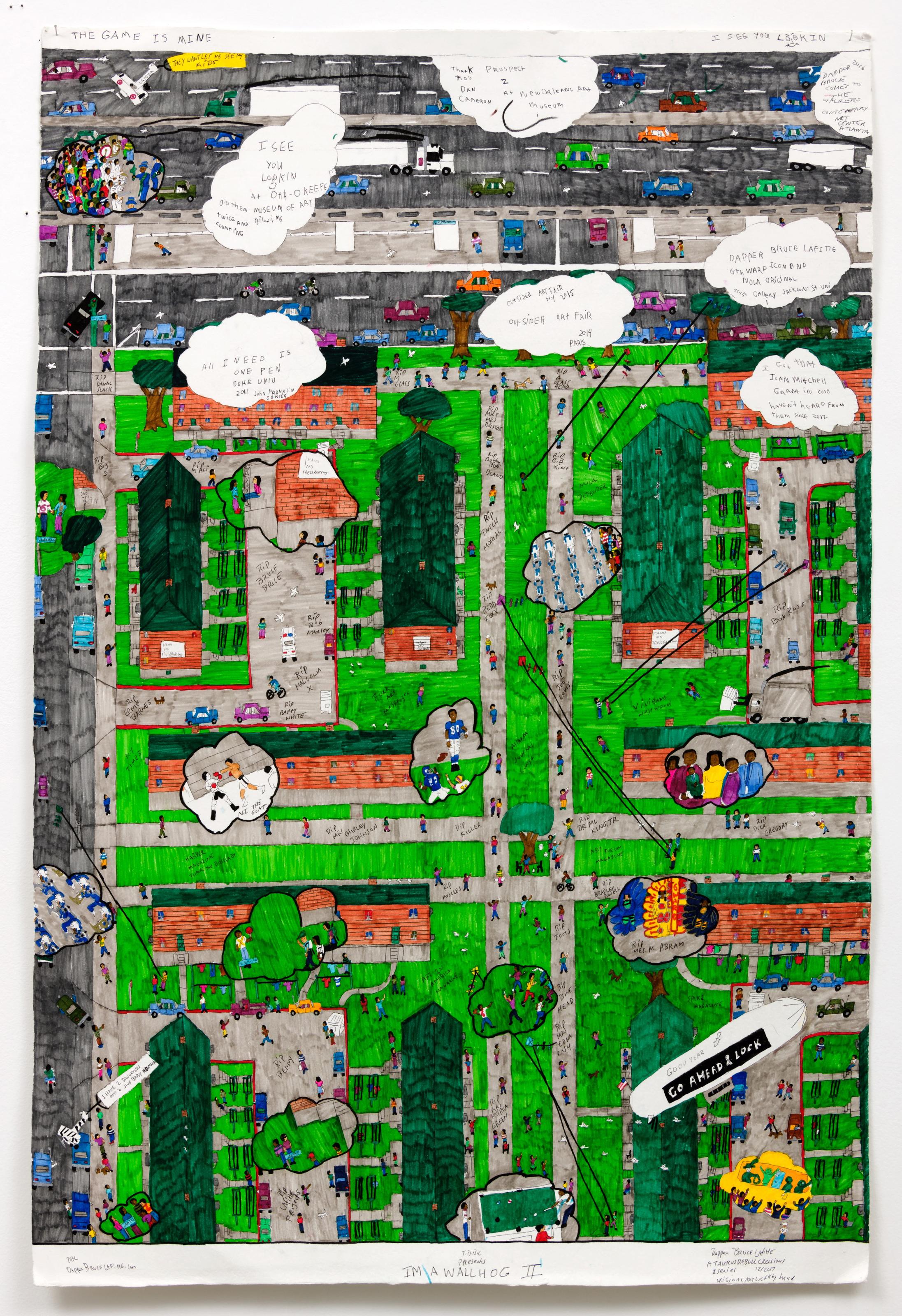 """Dapper Bruce Lafitte  I'm a Wallhog II, 2017  archival ink on acid free paper  60 x 40"""""""