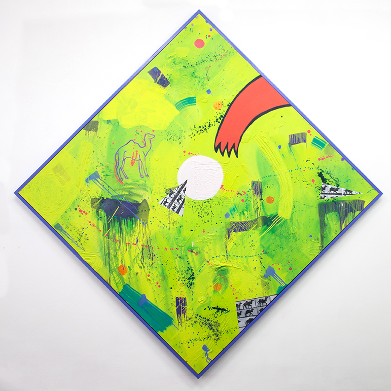 "Stop Time II, 2018 Oil paint and modeling paste on canvas, acrylic paint on wooden frame   93 x 93"" (236.2 x 236.2 cm)"