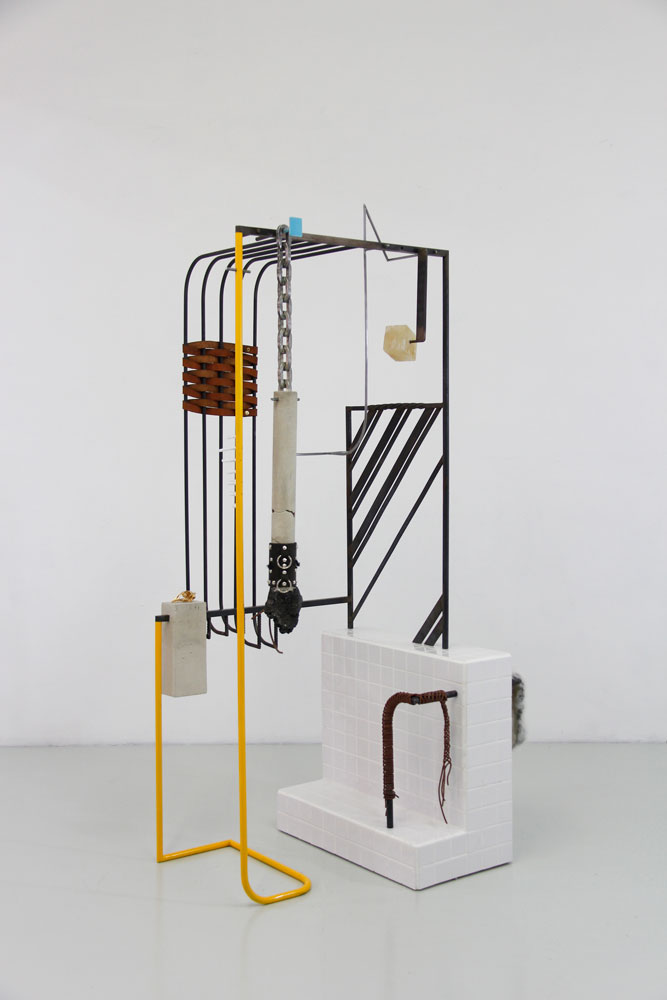 "Fig. 17.6 arcade, 2018  Steel, ceramic tile, cement, leather, yellow quartz, volcanic stone, gold plated bronze, rabbit skin, acrylic enamel  63 x 26 x 23"" (160 x 66 x 58 cm)"