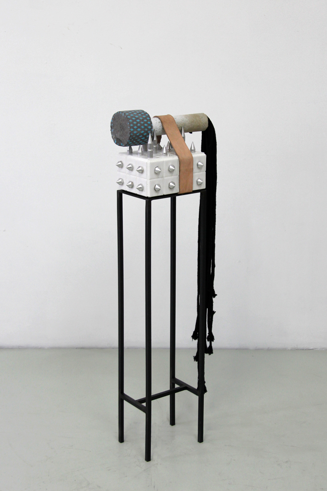 "Fig 18.3 console, knurled, 2018  Steel, ceramic tyle, aluminum, cement, leather, cotton cord, acrylic enamel  41 x 13 x 8"" (104 x 33 x 20 cm)"
