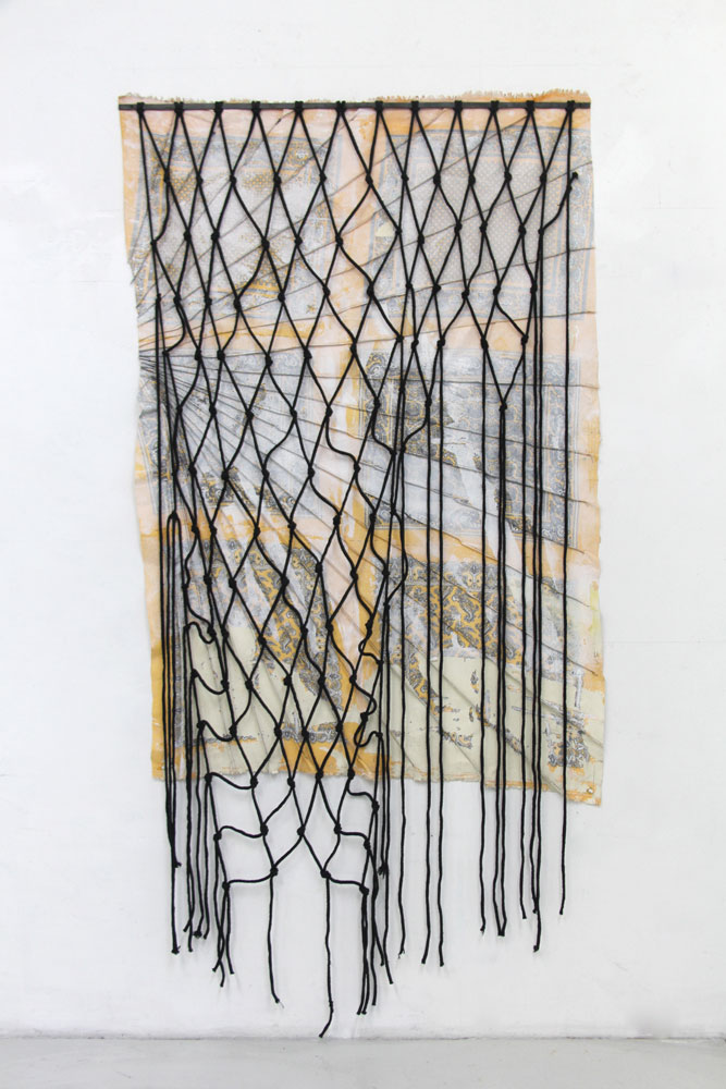 "Fig 4.2 Mirra, 2017 steel, fabric, enamel, paper, cotton rope 87""x 44"""