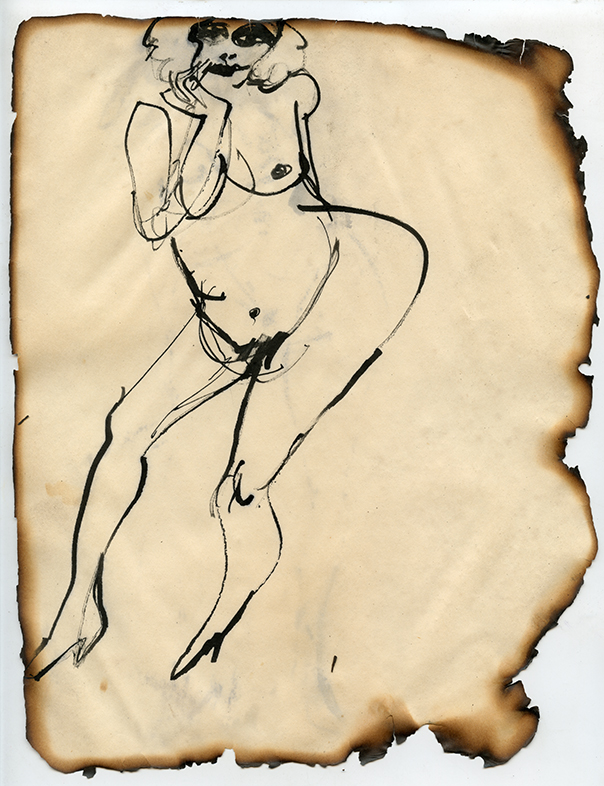Jimmy Wright Figure No. 11,1969 Ink on paper, framed 10.5 x 8.25""