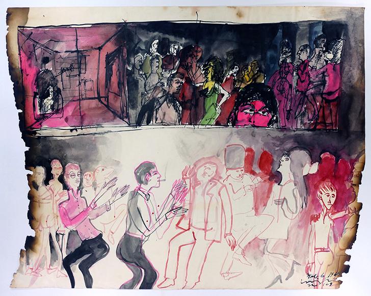 "The 169, 1968 Ink on paper, framed 18.5 x 24"""