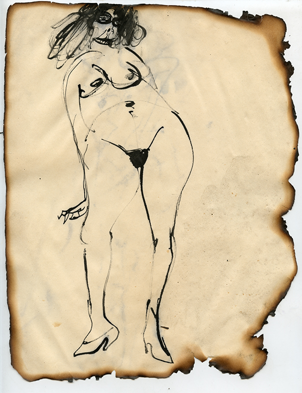 """Figure No. 12, 1969 Ink on paper, framed Approximately 10.5 x 8.25"""""""