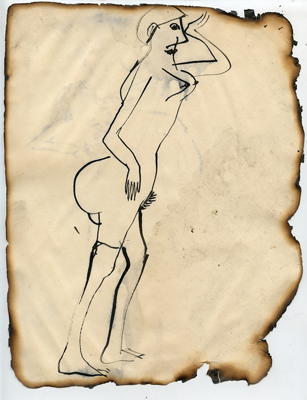 """Figure No. 14, 1969 Ink on paper, framed Approximately 10.5 x 8.25"""""""