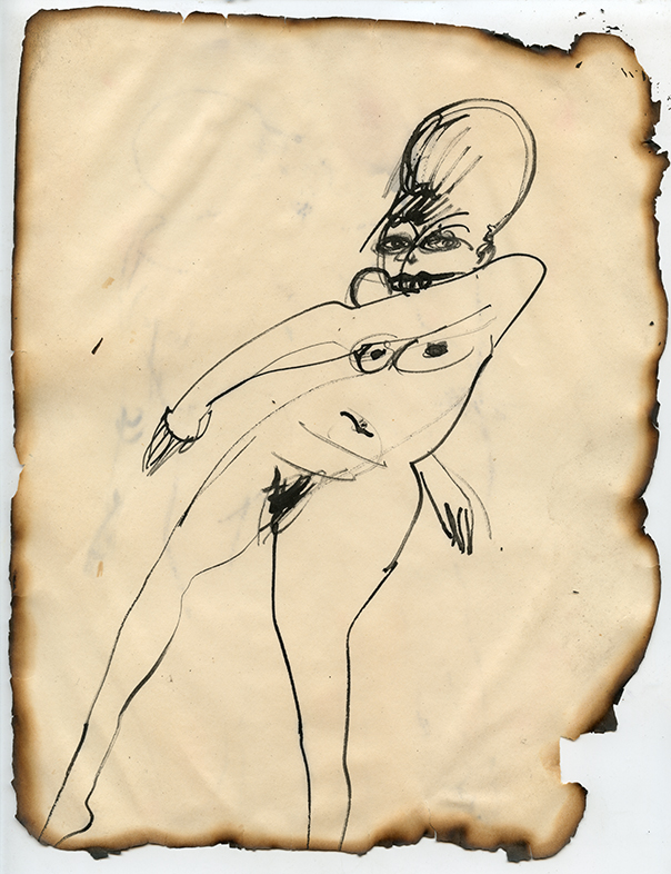 """Figure No. 18, 1969 Ink on paper, framed Approximately 10.5 x 8.25"""""""