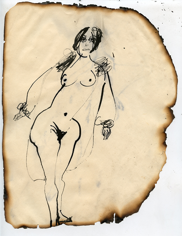 """Figure No. 24, 1969 Ink on paper, framed Approximately 10.5 x 8.25"""""""